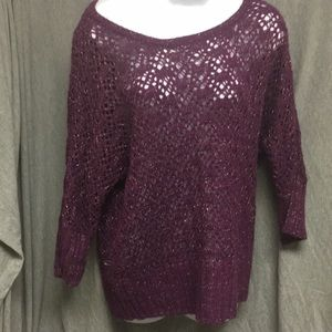 Sweaters - Purple gold mesh sweater 3/4 sleeve off shoulder